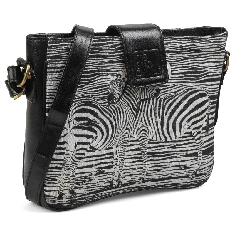 The Zebra Sling Bag by Anjali Minrai for Tresmode - Zebra Print Canvas Sling Bag - Tresmode