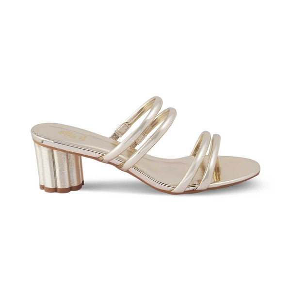 The Stips Gold - Gold block heel sandals for women - Tresmode