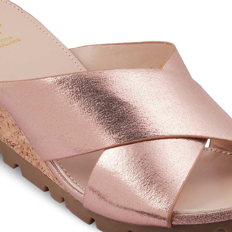 The Swedge Rose Gold Wedge heel sandals for women
