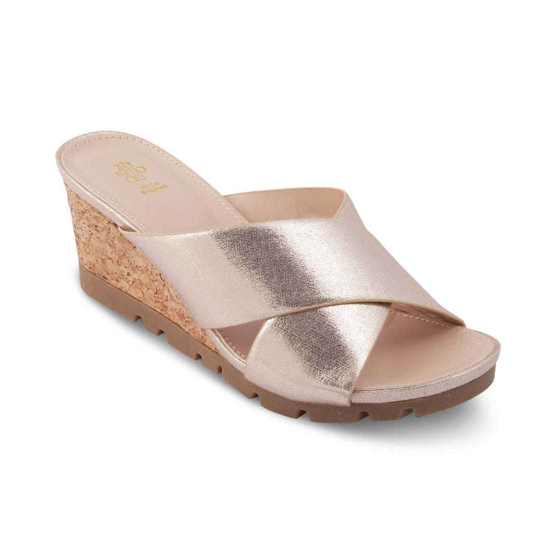 The Swedge Gold - Wedge heel sandals for women - Tresmode