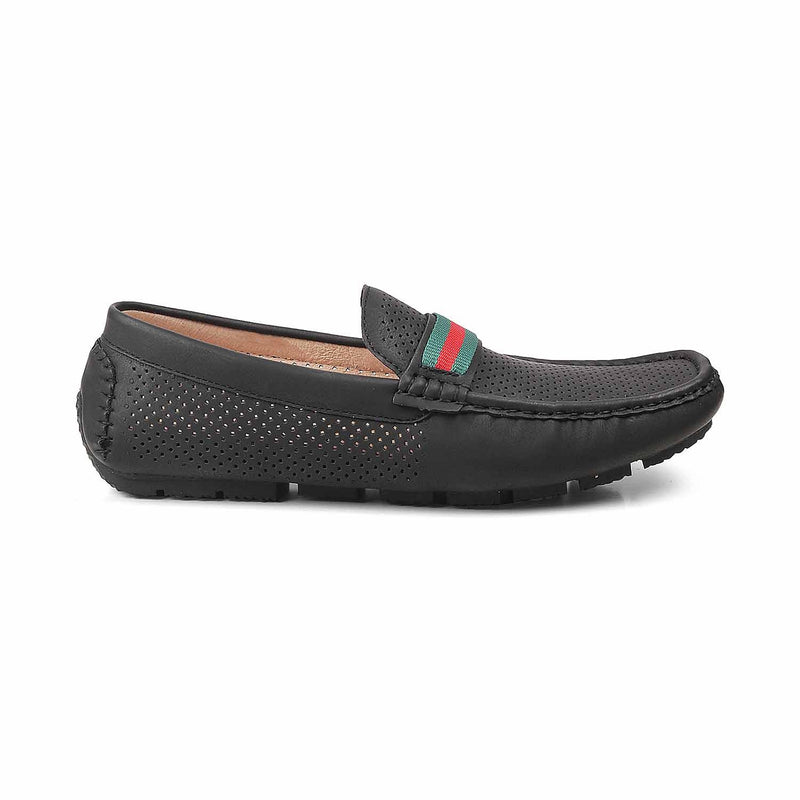 The Thessal Black Driving loafers for men