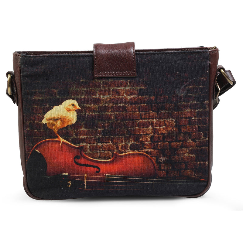 The Violin Sling Bag by Anjali Minrai for Tresmode - Violin Print Canvas Sling Bag - Tresmode