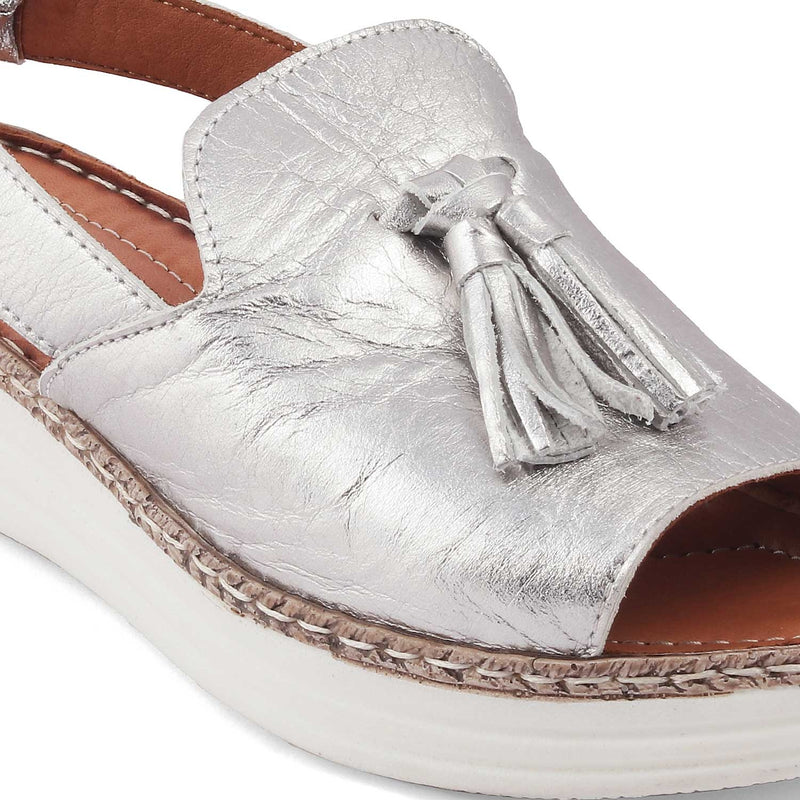 Silver Tassel sandals with ankle straps-The Laani Silver-Tresmode