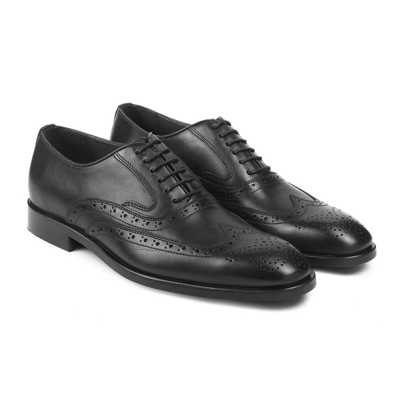 The Yakob Black - Black Oxford laceups with brogue - Tresmode