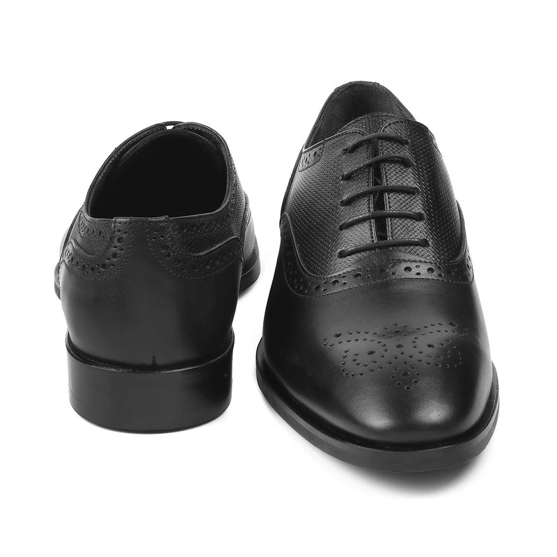 Black Oxford laceups with brogue design-The Robert Black-Tresmode