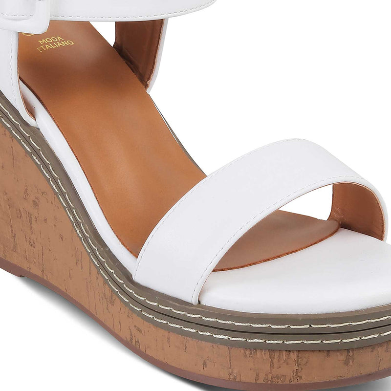 White Wedge heel sandals-The Nikol White-Tresmode