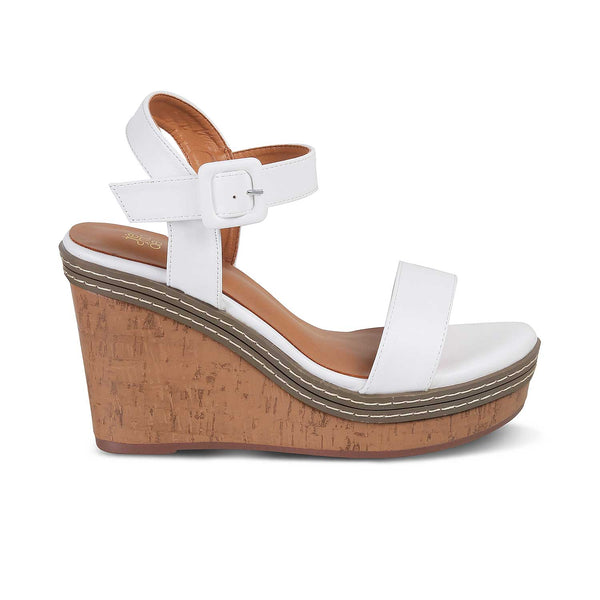 The Nikol White - White Wedge heel sandals - Tresmode