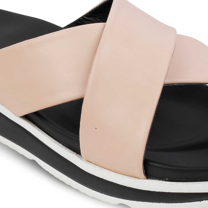 Tan sliders for women-The Adi Tan-Tresmode