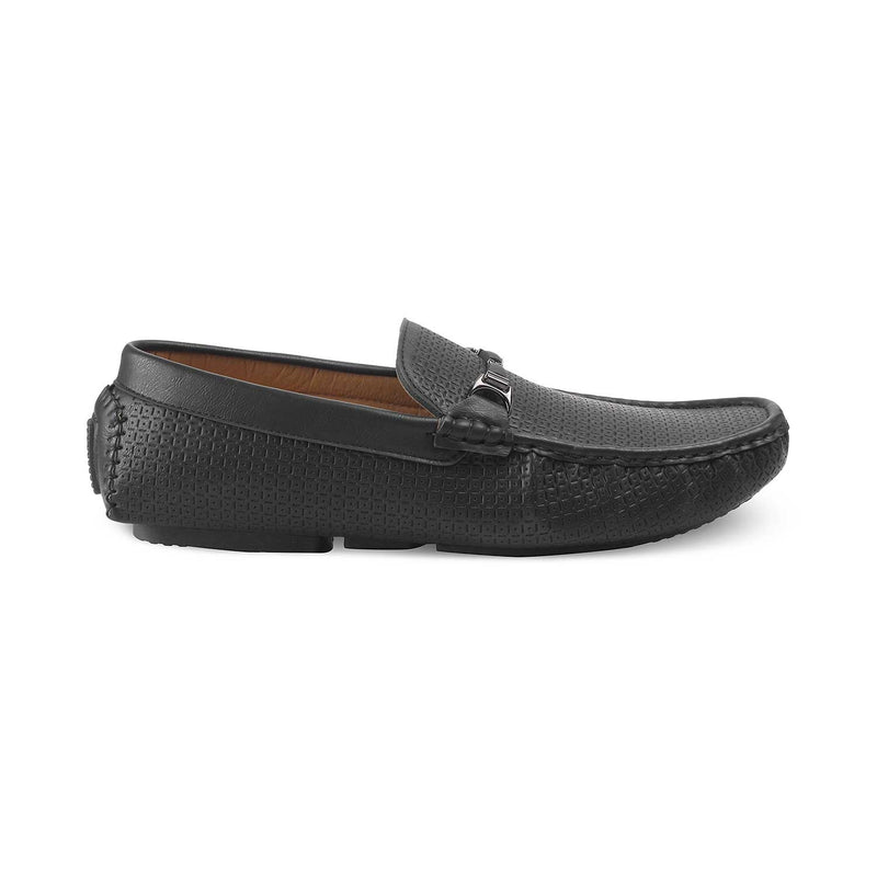 Black textured loafers for men-The McArthur-1 Black-Tresmode