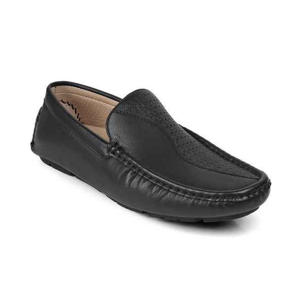 The Bismark-1 Black - Black driving loafers with self pattern - Tresmode