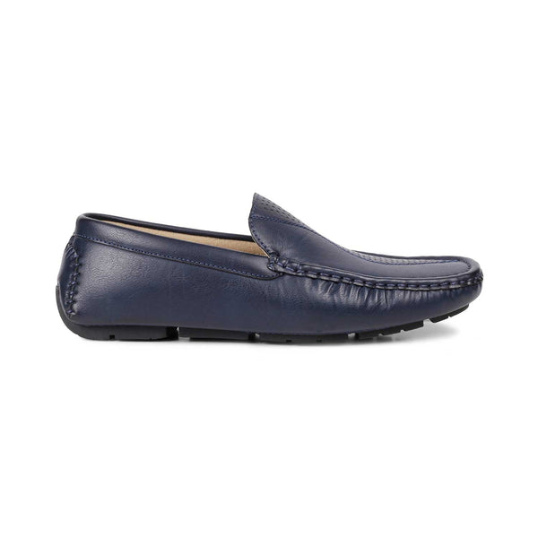 The Bismark-1 Blue - Blue driving loafers with self pattern - Tresmode