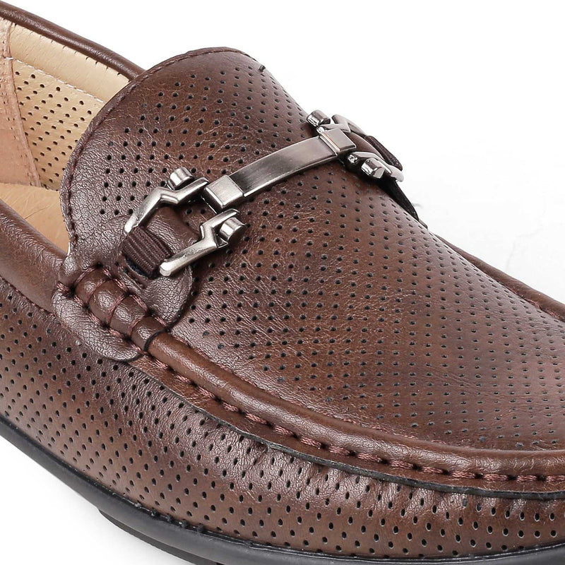 The Blaubern-1 Brown - Brown Driving loafers with buckle detail - Tresmode