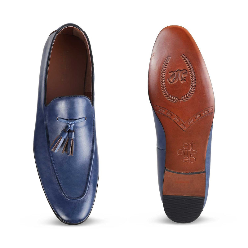The Bogoto Blue - Blue Tassel Loafers - Tresmode