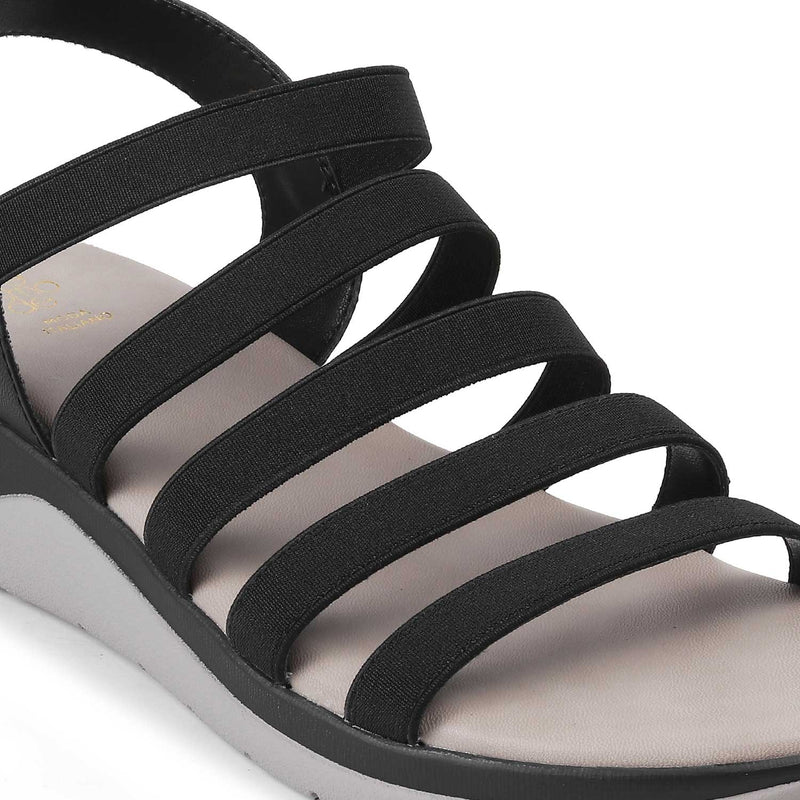 The Caburo Black - Black Casual Strappy Sandals for Women - Tresmode