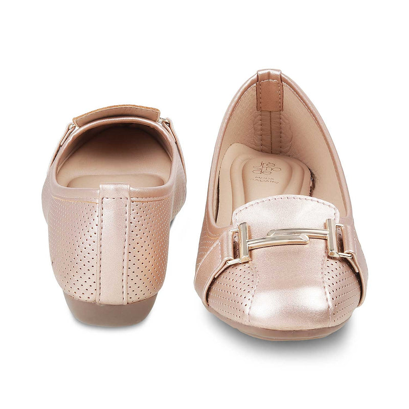 The Edgeware Rose GoldRose Gold ballet flats - Tresmode