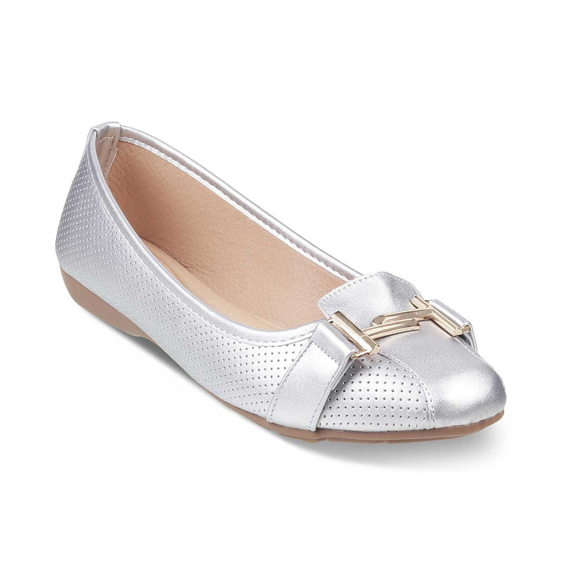 The Edgeware Silver ballet flats