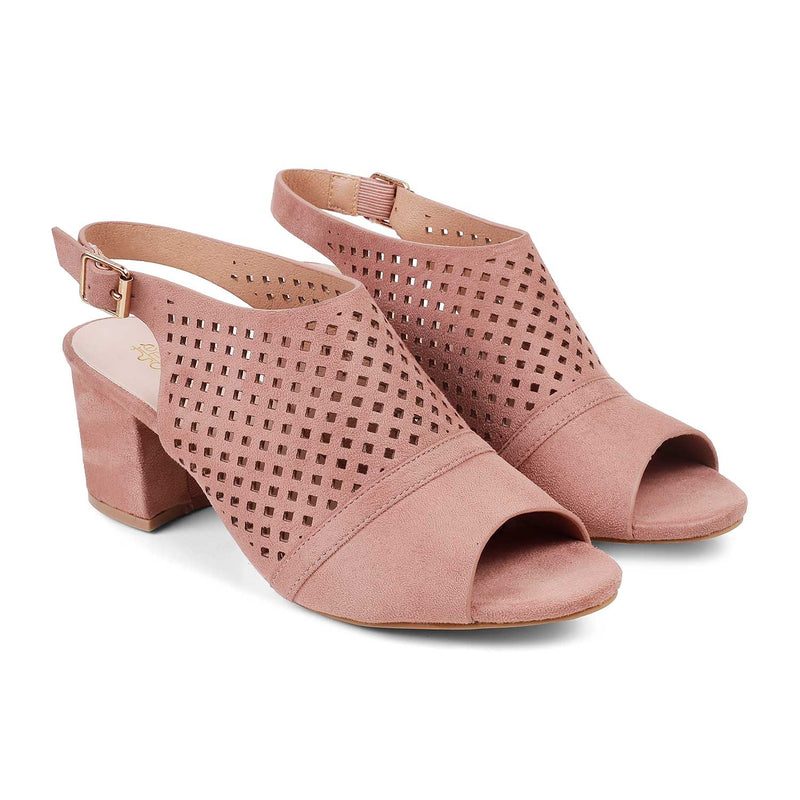 Pink Block heel sandals-The Hela Pink-Tresmode