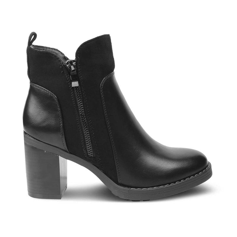 The Janice Black Ankle-length Boots with Block Heels