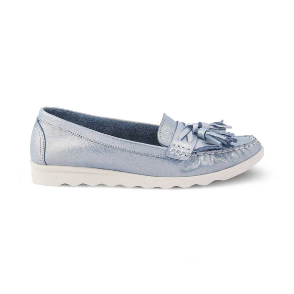 The Skyler Blue - Blue Tassel loafers with shimmer body - Tresmode