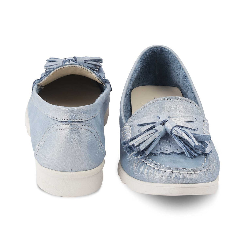 The Skyler Blue Tassel loafers with shimmer body