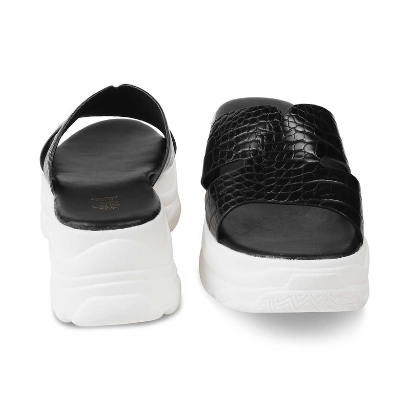 The Lily Black chunky sole slides