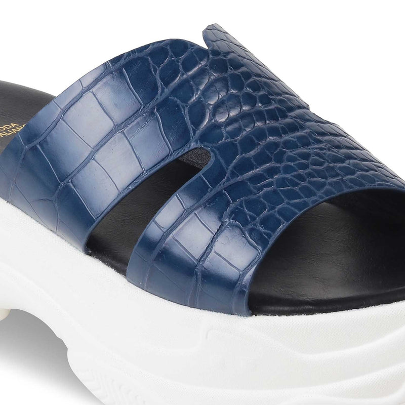 The Lily Blue chunky sole slides