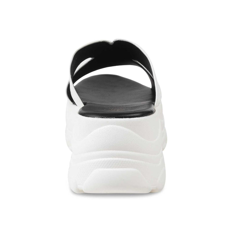White chunky sole slides-The Lily White-Tresmode