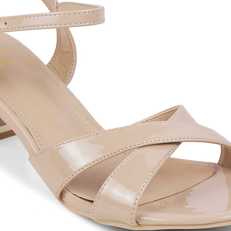 The Macelo Beige block heel sandals