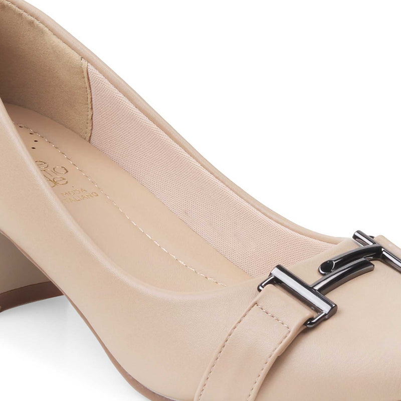 The Marge-1 Beige Pumps with block heels