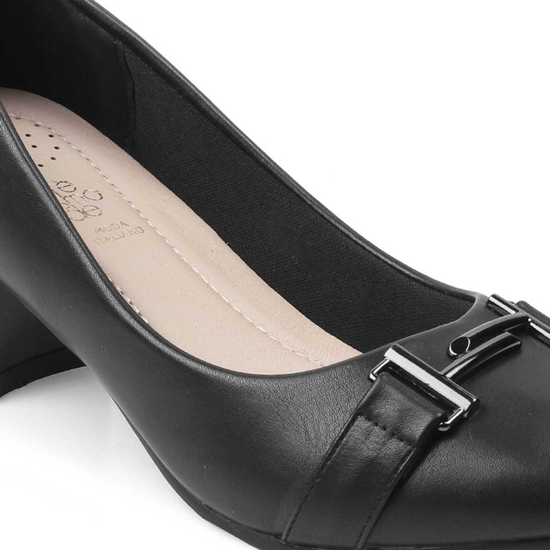 The Marge-1 Black - Black Pumps with block heels - Tresmode