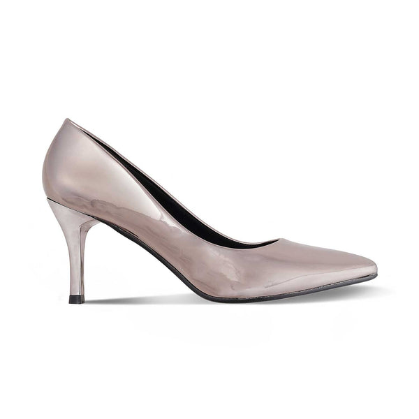 The Messina Pewter - Pewter pencil heel pumps - Tresmode