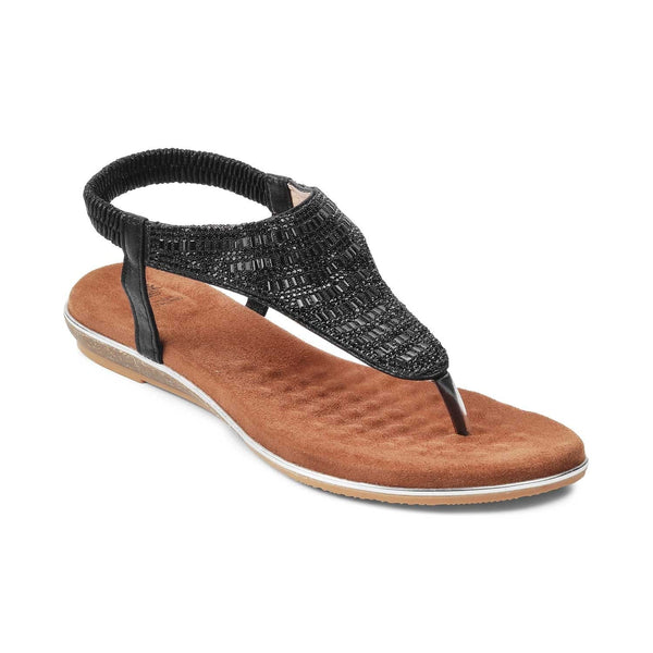 The Monaco-1 BlackBlack Flat Sandals For Women - Tresmode