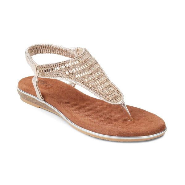 The Monaco-1 Gold - Gold Flat Sandals For Women - Tresmode