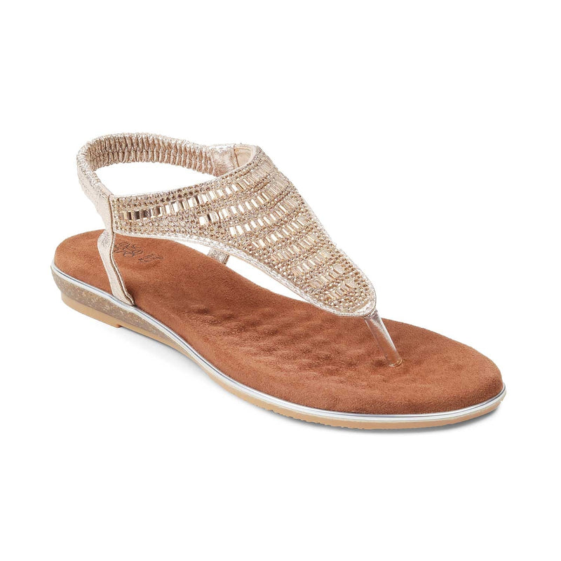 The Monaco-1 GoldGold Flat Sandals For Women - Tresmode