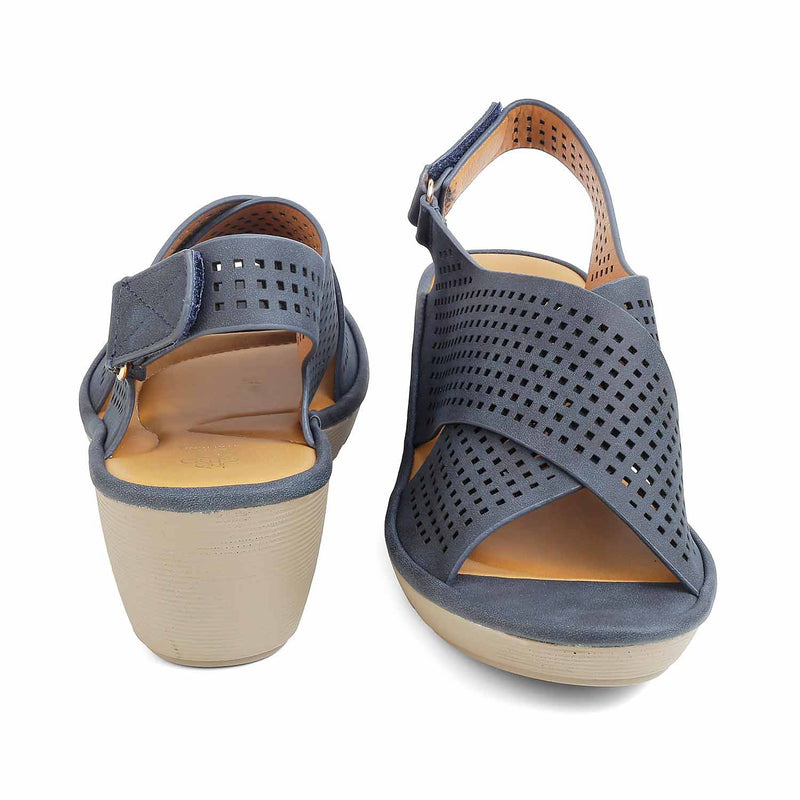 The Morock-1 Blue casual sandals with thick straps and laser