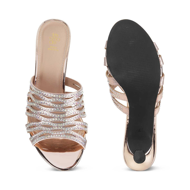 The Napoli Rose Gold gold sequined slip on sandals for women