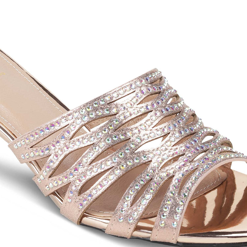 The Napoli Rose Gold - Rose gold sequined slip on sandals for women - Tresmode