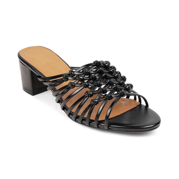 The Noy Black - Black slip on sandals - Tresmode