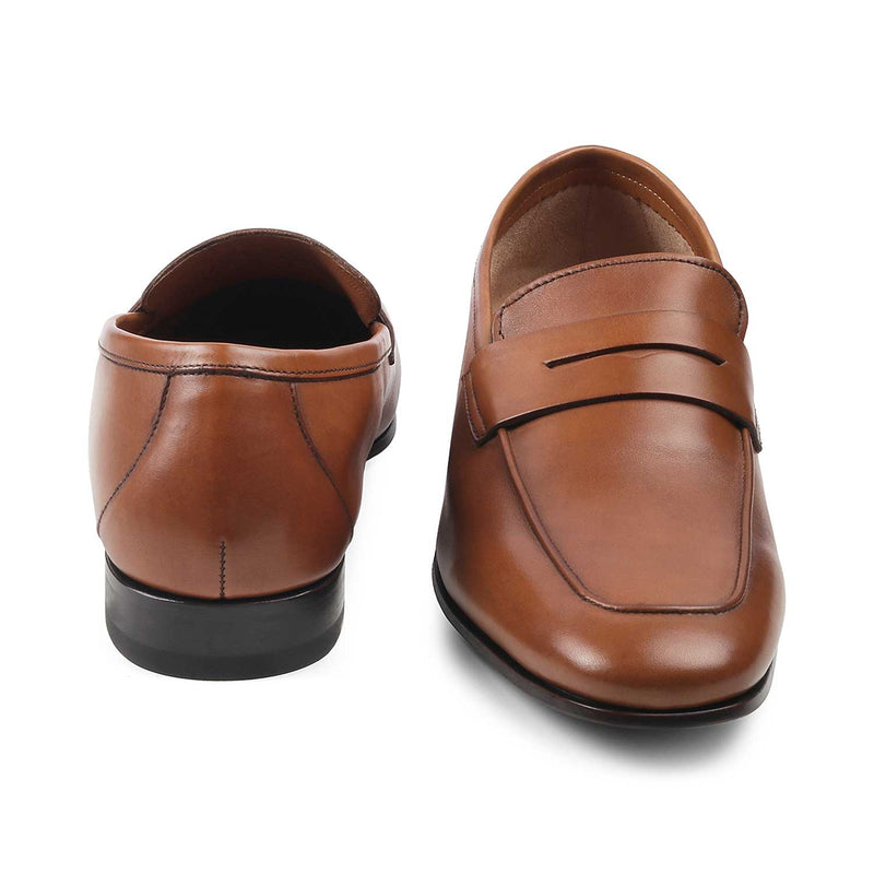The Pietro Brown - Brown Penny loafers with apron toe - Tresmode