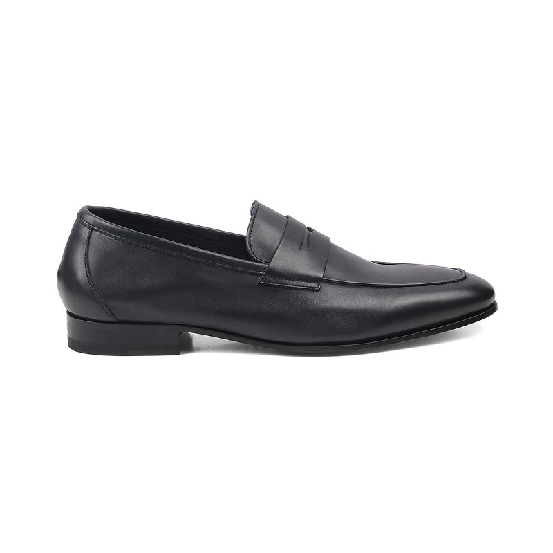 The Pietro Navy Penny loafers with apron toe