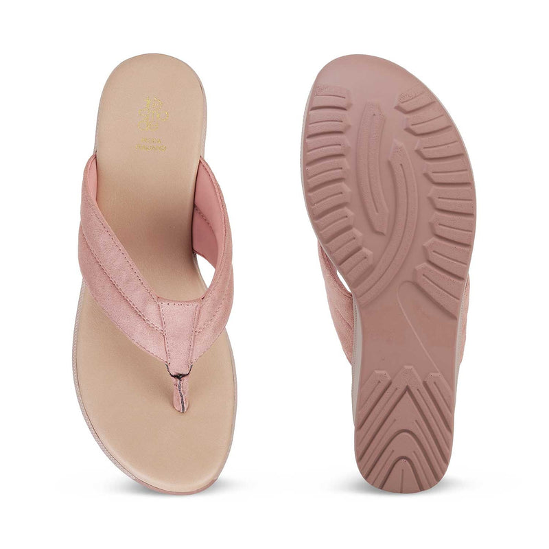The Thiva Pink - Pink wedge heel slip on sandals - Tresmode