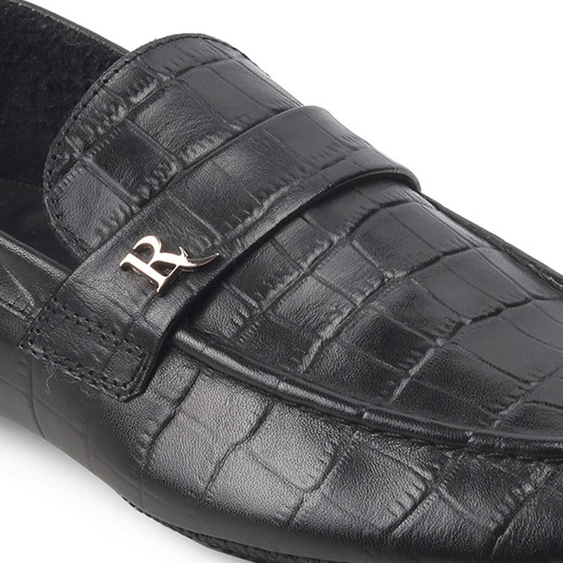 The Thomas Black Croc Print Loafers
