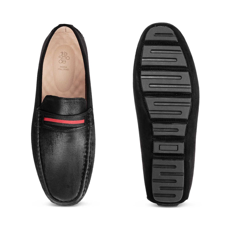 The Volos-1 Black - Black driving loafers - Tresmode