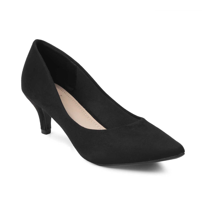 Black kitten heel pumps-The Wilburg Black-Tresmode