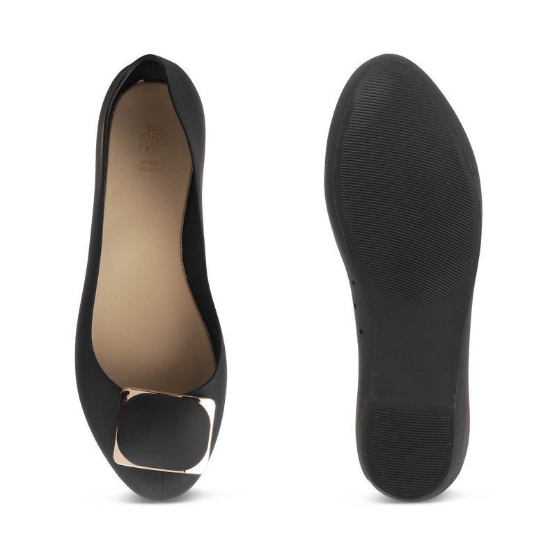 The Zebal Black Jelly Ballerinas