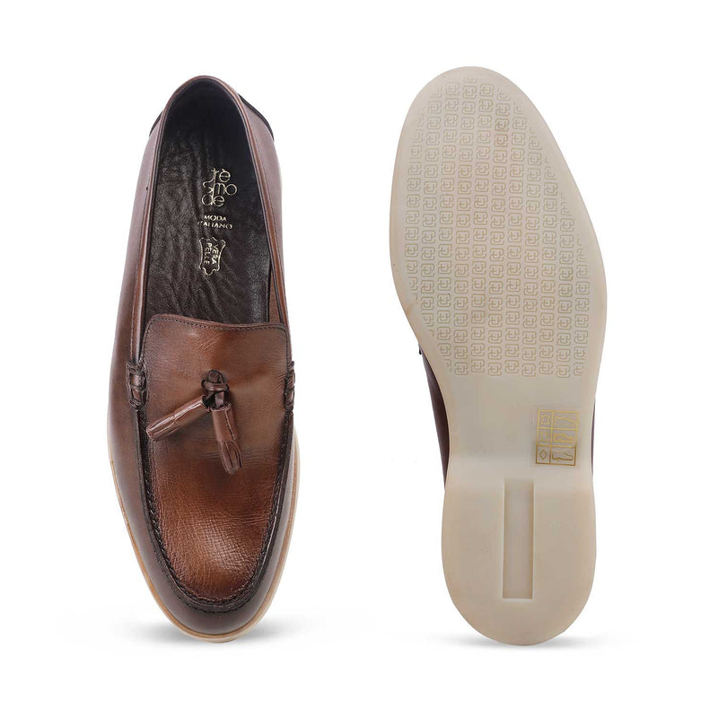 The Berle-1 Brown - Brown tassel loafers - Tresmode