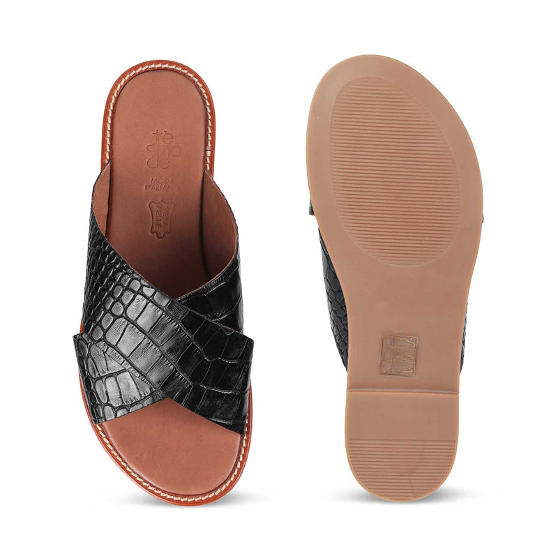 The Chania Black - Black Flats for Women - Tresmode
