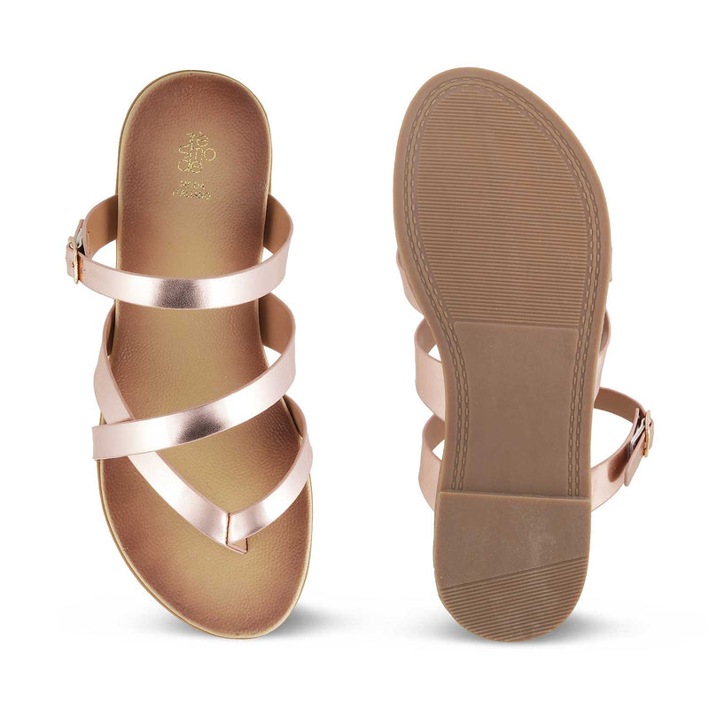 The Claren Rose Gold - Rose Gold Flat Sandals for Women - Tresmode