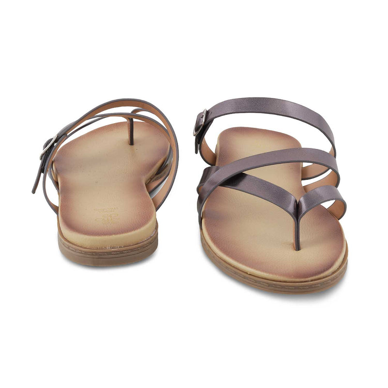 The Claren Pewter - Pewter Flat Sandals for Women - Tresmode