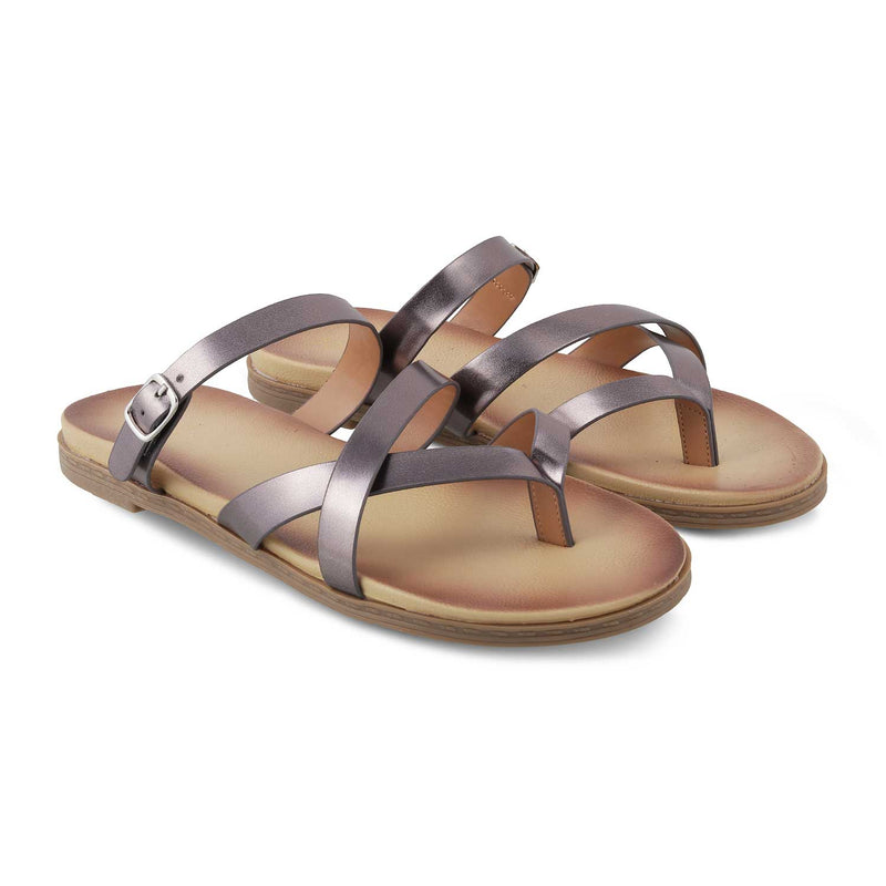 Pewter Flat Sandals for Women-The Claren Pewter-Tresmode